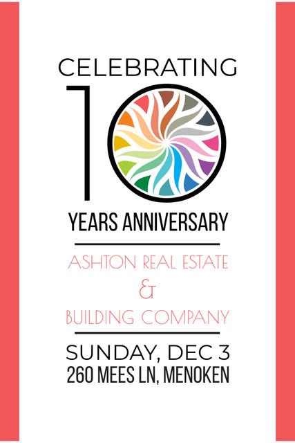 Plantilla de diseño de Anniversary Invitation in Simple Frame Pinterest