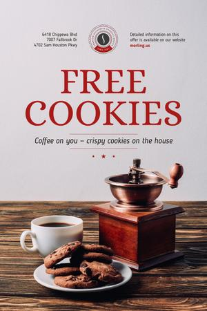 Platilla de diseño Coffee Shop Promotion with Coffee and Cookies Pinterest
