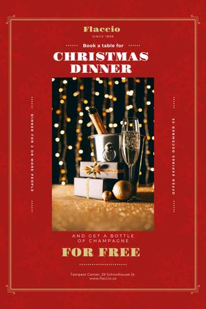 Platilla de diseño Christmas Dinner Offer with Champagne and Gift Pinterest