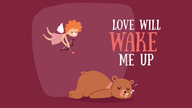 Valentine's Day Cupid shooting arrow in sleeping Bear Full HD video Design Template