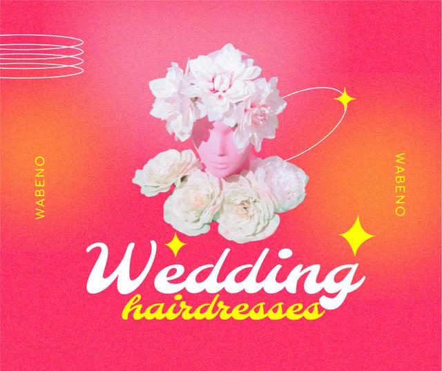 Wedding Hairdressing Offer with Funny Floral Statue Facebook – шаблон для дизайна