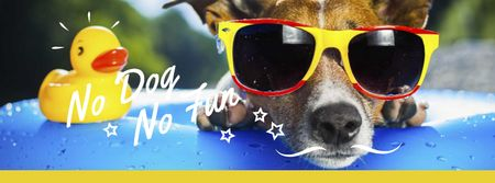 Plantilla de diseño de Puppy in sunglasses in Pool Facebook cover