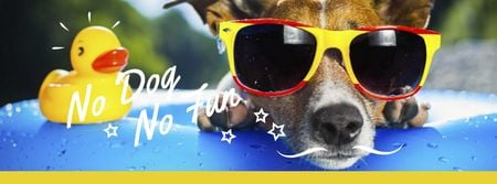 Szablon projektu Puppy in sunglasses in Pool Facebook cover