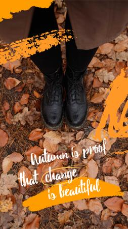 Autumn Inspiration with Girl standing on Foliage Instagram Story Modelo de Design