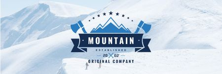 Journey Offer with Mountains Icon in Blue Email header Modelo de Design
