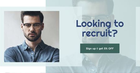 Recruit Offer with Businessman Facebook AD Modelo de Design