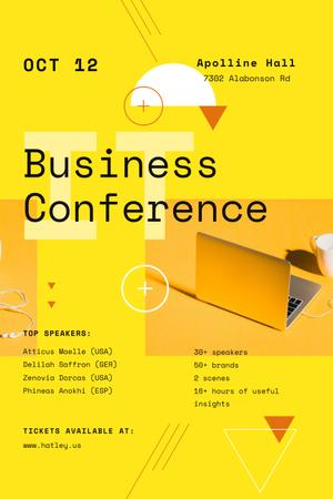 Modèle de visuel Business Conference Announcement with Laptop in Yellow - Pinterest