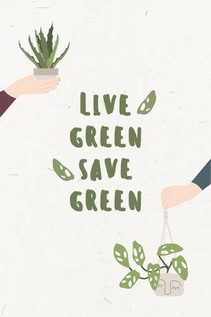 Szablon projektu Green Lifestyle Concept with People holding Flowerpots Tumblr