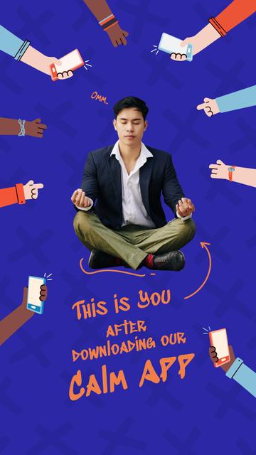 Funny Joke with Man meditating in Lotus Pose Instagram Story – шаблон для дизайну