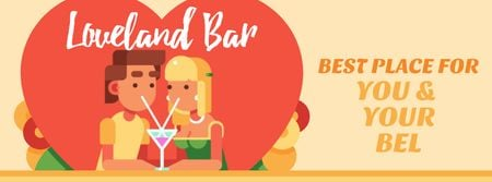 Dreamy Lovers enjoying Coctails on Valentine's Day Facebook Video cover Modelo de Design