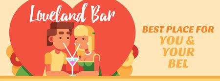 Ontwerpsjabloon van Facebook Video cover van Dreamy Lovers enjoying Coctails on Valentine's Day