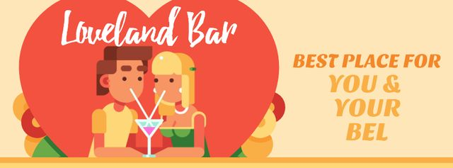 Dreamy Lovers enjoying Coctails on Valentine's Day Facebook Video cover – шаблон для дизайна