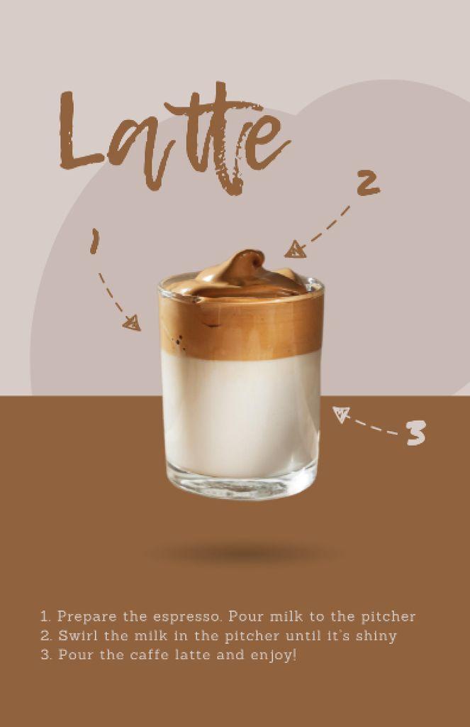 Hot Latte in Glass Recipe Cardデザインテンプレート