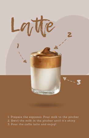 Ontwerpsjabloon van Recipe Card van Hot Latte in Glass