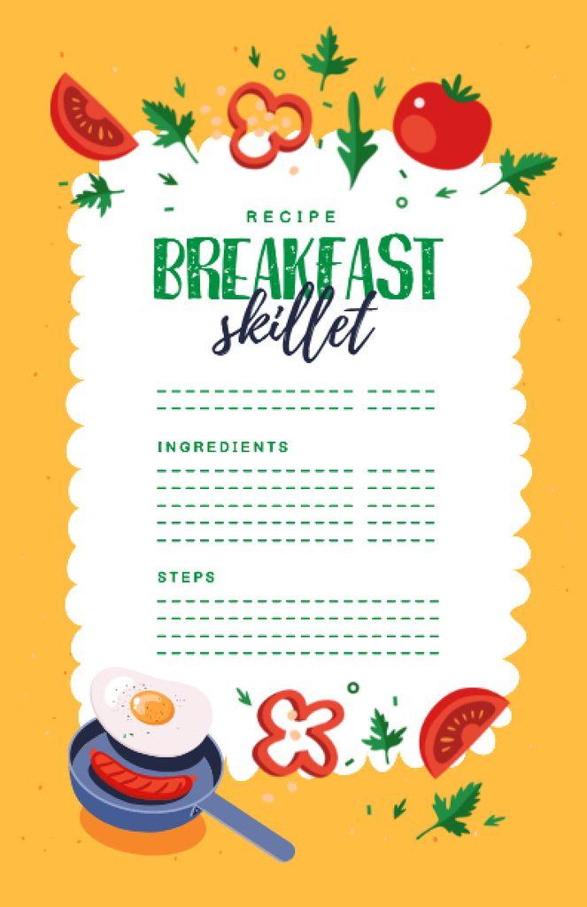 Breakfast Skillet Cooking Steps Recipe Card – шаблон для дизайна