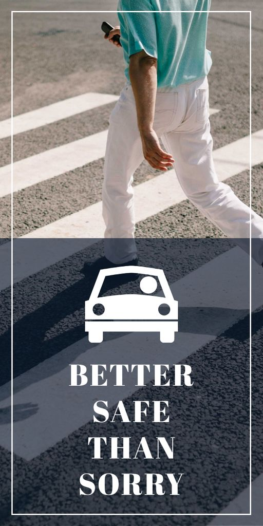 Road safety ad with Pedestrian Graphic Design Template