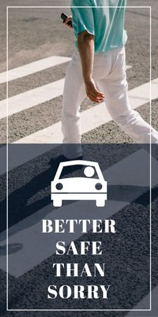 Ontwerpsjabloon van Graphic van Road safety ad with Pedestrian