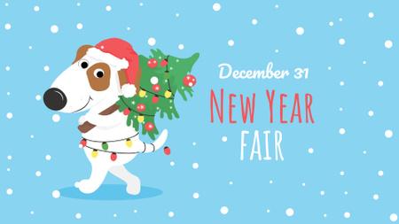 Plantilla de diseño de New Year Fair Announcement with Cute Puppy FB event cover