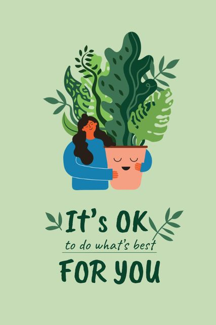Mental Health Inspiration with Woman holding Plant Tumblr Design Template