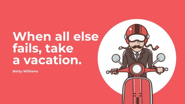 Vacation Quote with Man on Motorbike in Red Youtube Modelo de Design