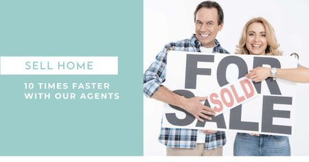 Real estate agent advertisement with happy Couple Facebook AD Design Template