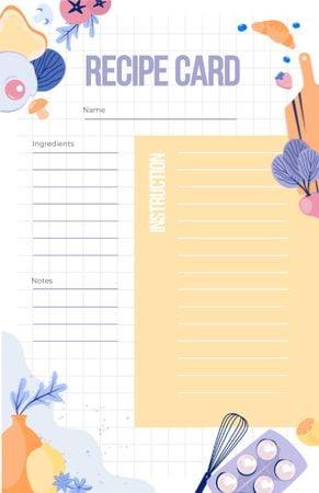 Plantilla de diseño de Cute illustration of Food and Kitchen Tools Recipe Card