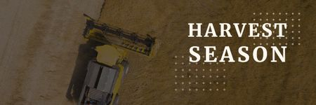 Agricultural Machinery Industry with Harvester Working in Field Email header Modelo de Design