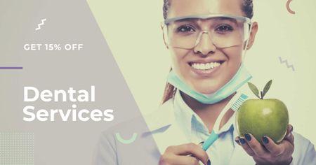 Dental Clinic Doctor holding apple Facebook AD Modelo de Design