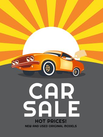 Car Sale Advertisement Muscle Car in Orange Poster US – шаблон для дизайну
