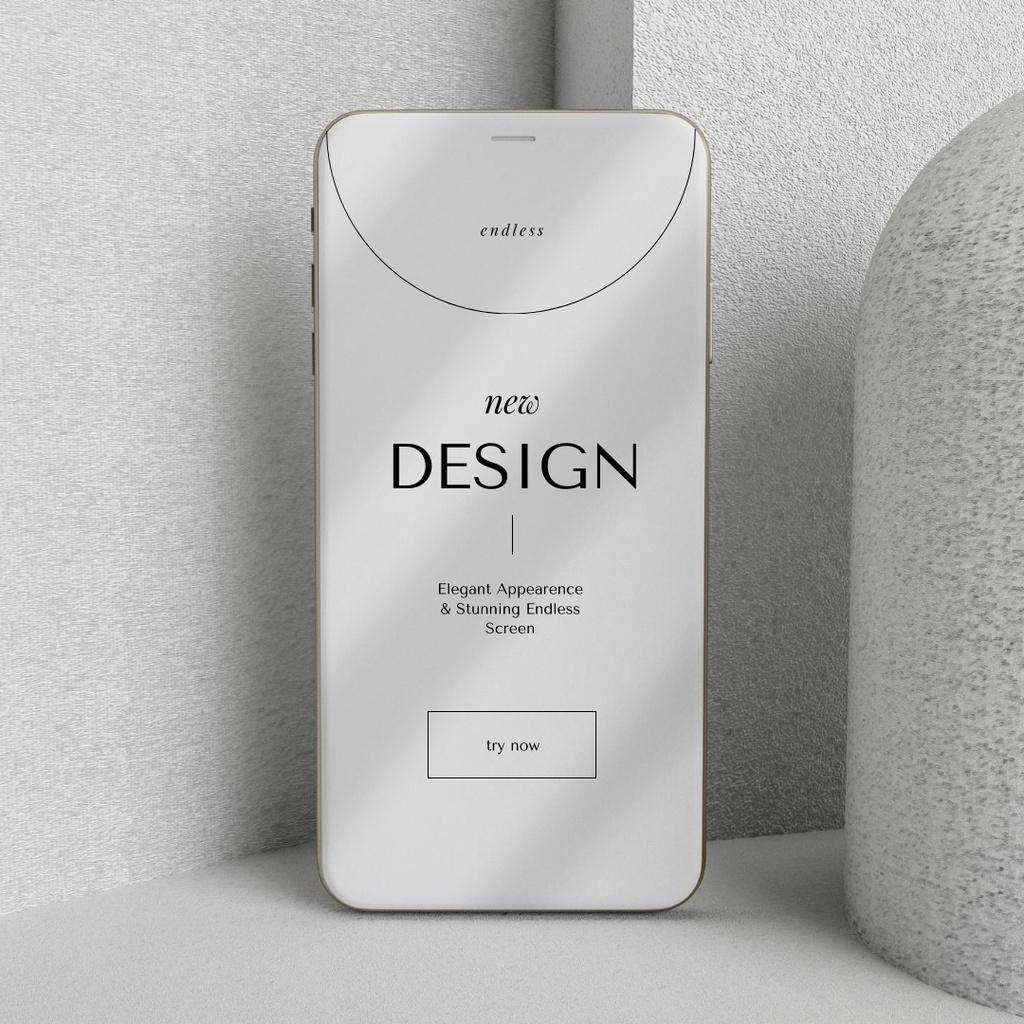 Modèle de visuel New App Design Ad with Modern Smartphone - Instagram