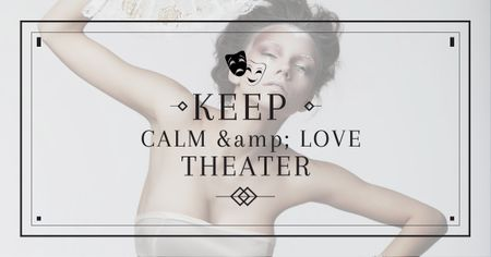 Citation about love to theatre Facebook AD Modelo de Design
