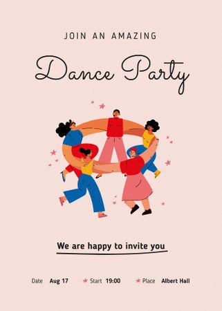 Template di design Dance Party Announcement with People Dancing in Circle Invitation