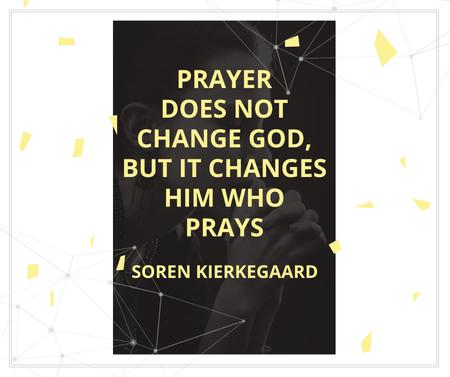 Plantilla de diseño de Religion Quote with Woman Praying Facebook