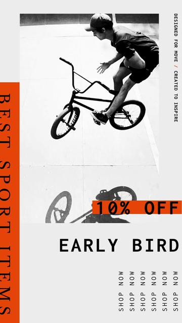 Sport Shop Offer with boy on BMX bike Instagram Video Story Design Template