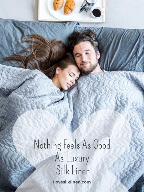 Ontwerpsjabloon van Poster US van Bed Linen ad with Couple sleeping in bed