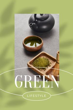 Green Lifestyle Concept with Tea in Cups Pinterest Design Template