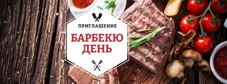 BBQ Day Announcement with Grilled Steak Facebook cover – шаблон для дизайна