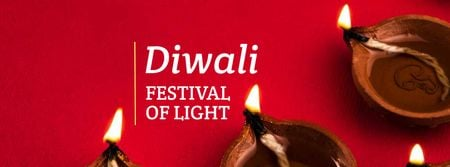 Modèle de visuel Diwali Festival Announcement with Candles - Facebook cover