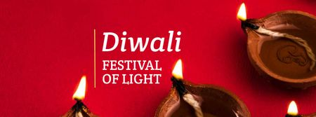 Diwali Festival Announcement with Candles Facebook cover Design Template