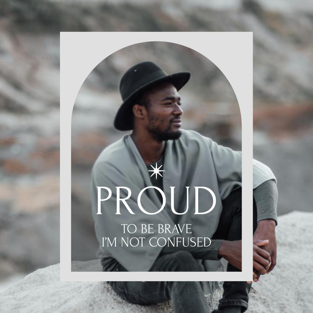 Template di design Inspirational Phrase with Stylish Young Man Instagram