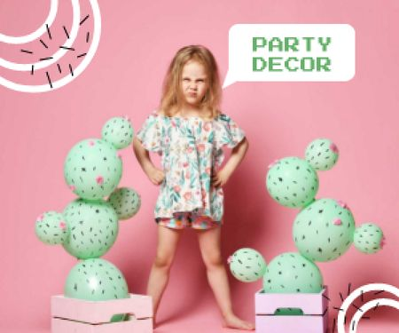 Plantilla de diseño de Party Decor Offer with Cute Little Girl Medium Rectangle
