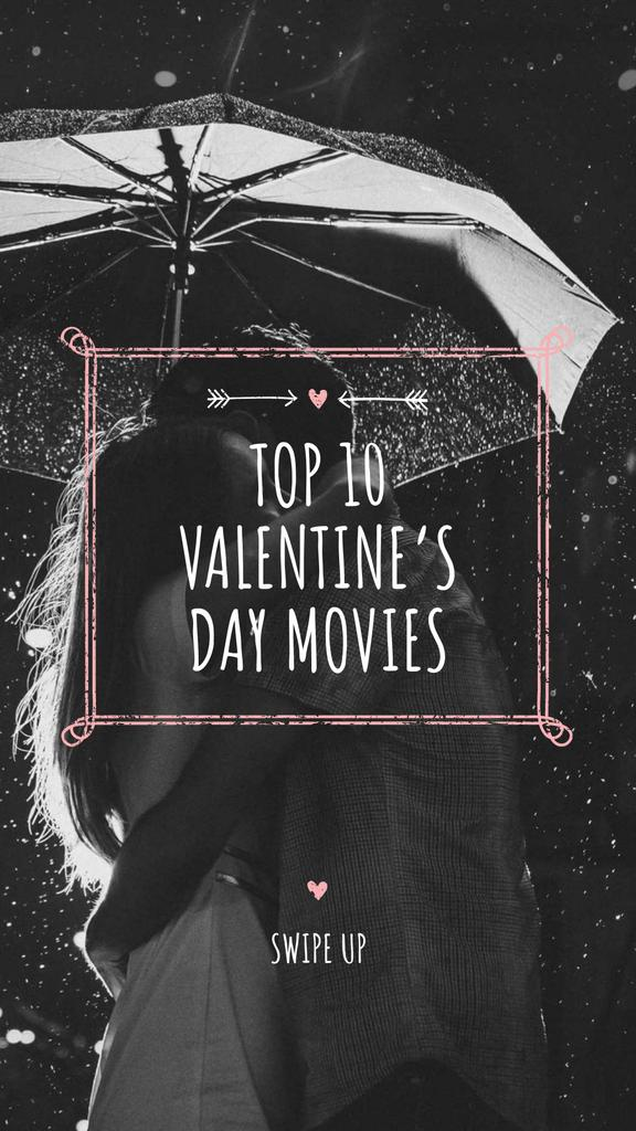 Valentine's Movies Ad with Romantic Couple under Umbrella Instagram Story Modelo de Design