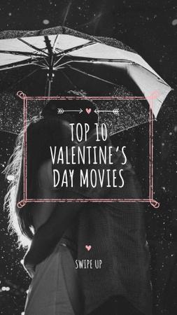 Plantilla de diseño de Valentine's Movies Ad with Romantic Couple under Umbrella Instagram Story