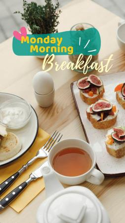Delicious Breakfast on table Instagram Story Design Template