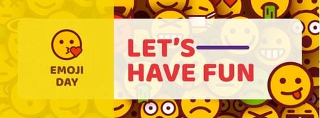 Emoji Day Party Announcement Facebook cover Tasarım Şablonu