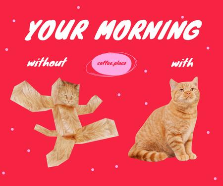Funny Promotion of Coffee House with Geometric Cat Facebook Design Template