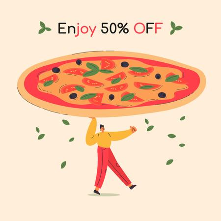 Template di design Pizzeria offer with Giant Pizza Instagram AD