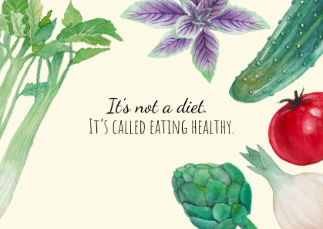 Plantilla de diseño de Healthy eating illustration Card