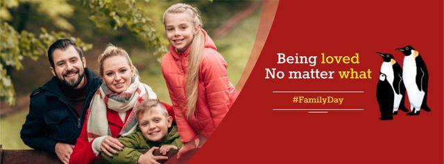 Plantilla de diseño de Family Day Greeting with Parents and Kids Facebook cover