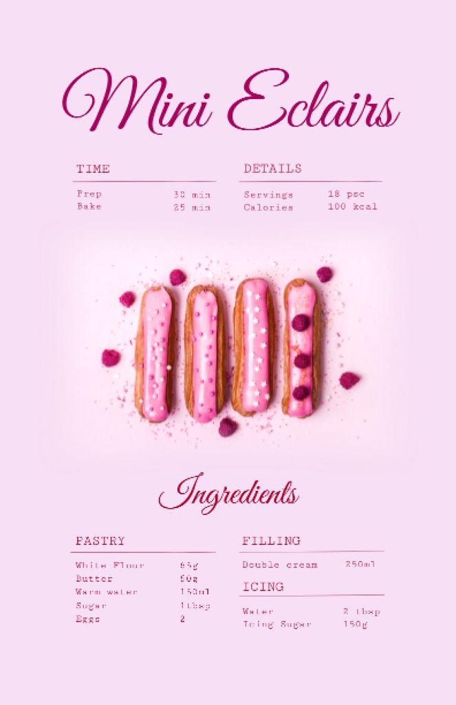 Yummy Eclairs Cooking Steps Recipe Card – шаблон для дизайну